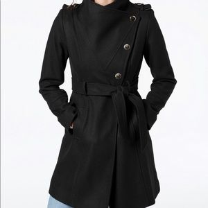 Guess Asymmetrical Belted Wool Blend Peacoat